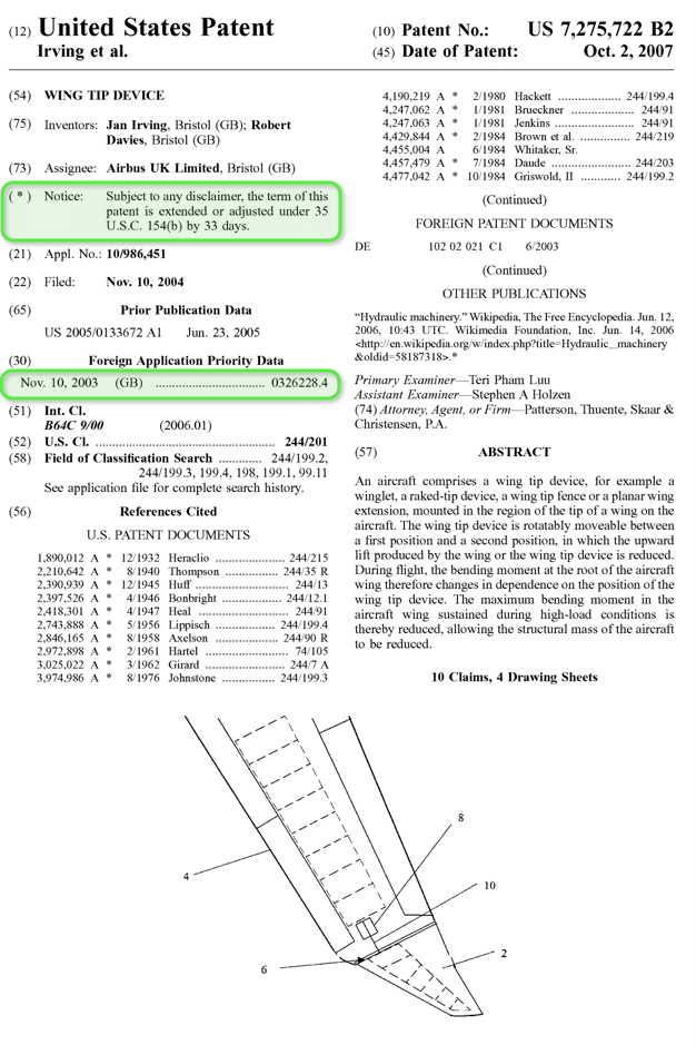 wing tip nonprovisional patent and provisional patent filing date