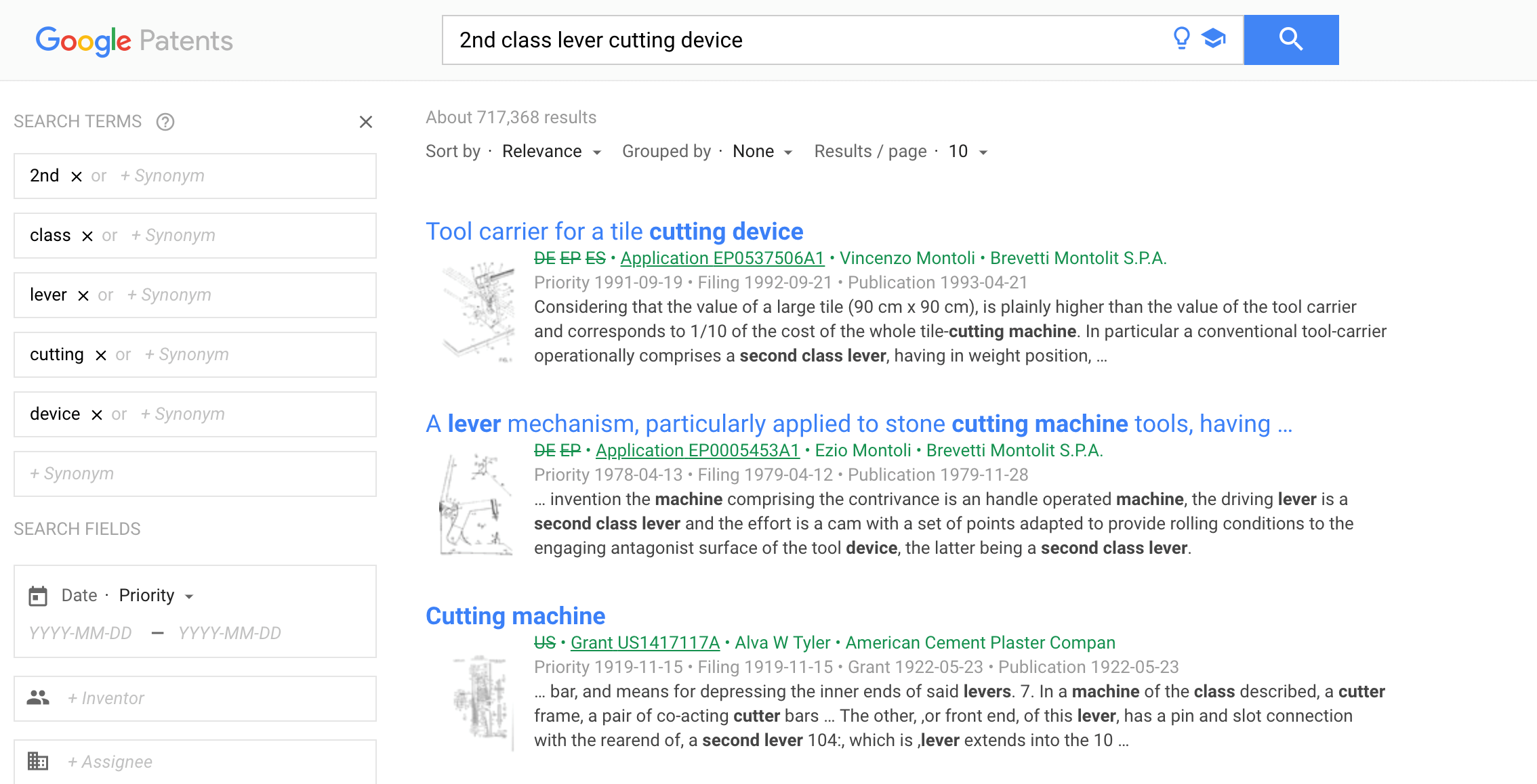Google patents search for 2nd class lever cutting device