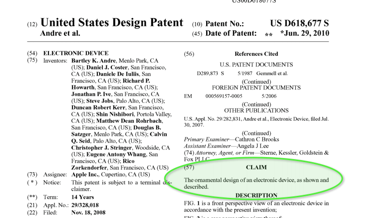 Original iPhone Design Patent Filed by Apple