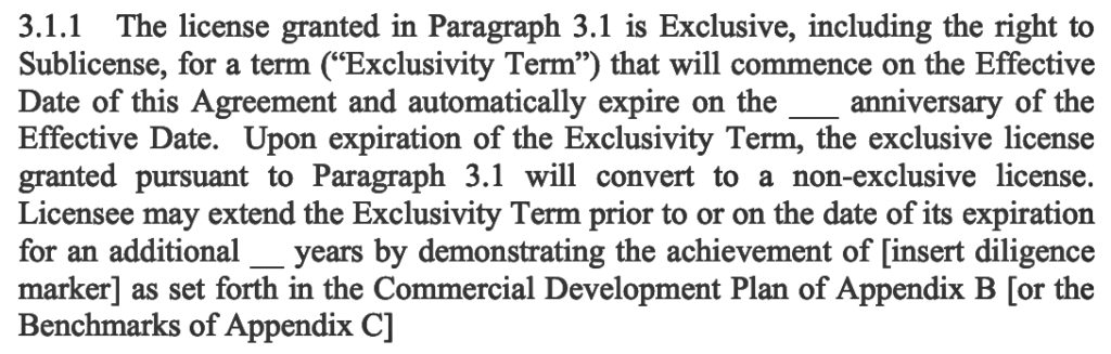 exclusivity term agreement for patents