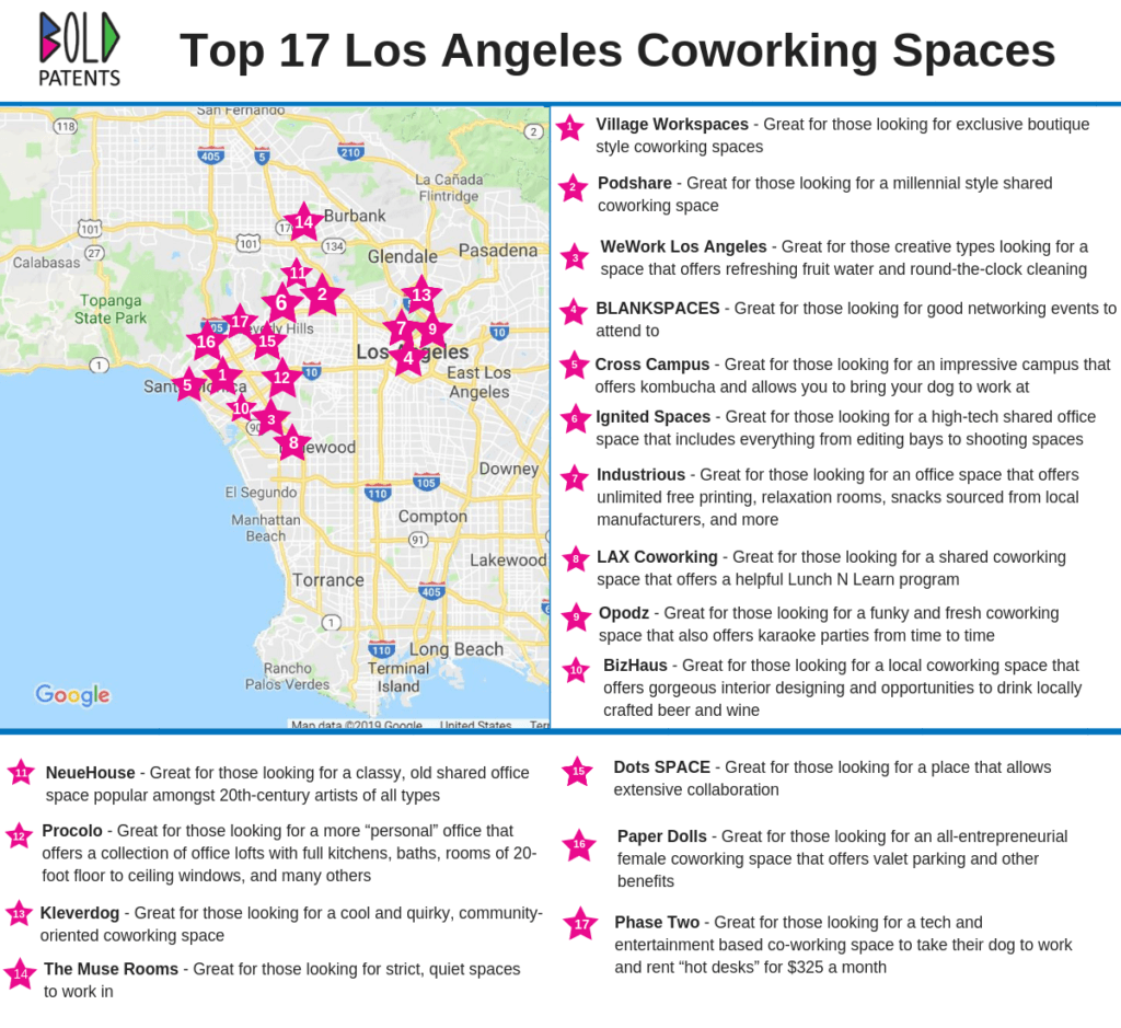 Bold Patents Los Angeles Coworking Space Map