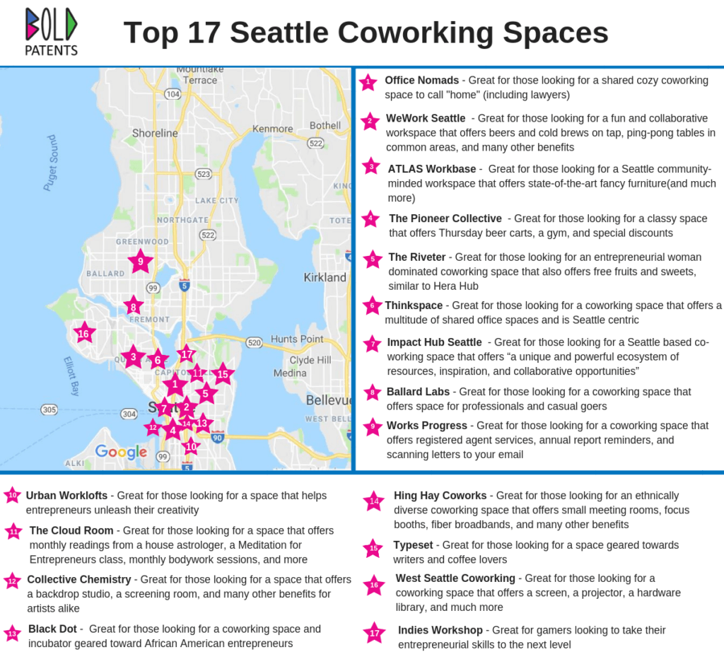 Top 17 Seattle Coworking Space Map