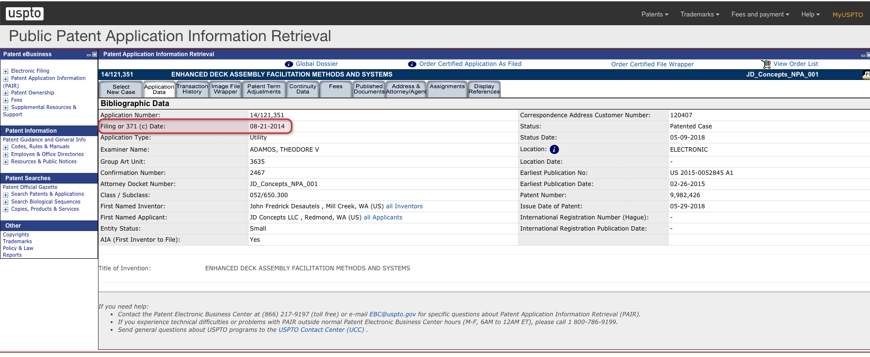 Public Patent Application Information Retrieval on USPTO