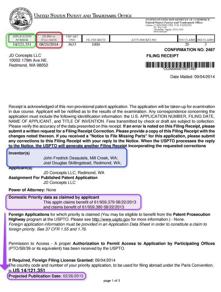 filing receipt example patent pending 14/121,351