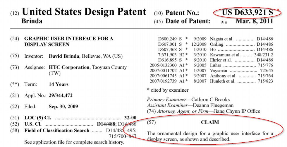 graphical user interface design patent for HTC - D633,921