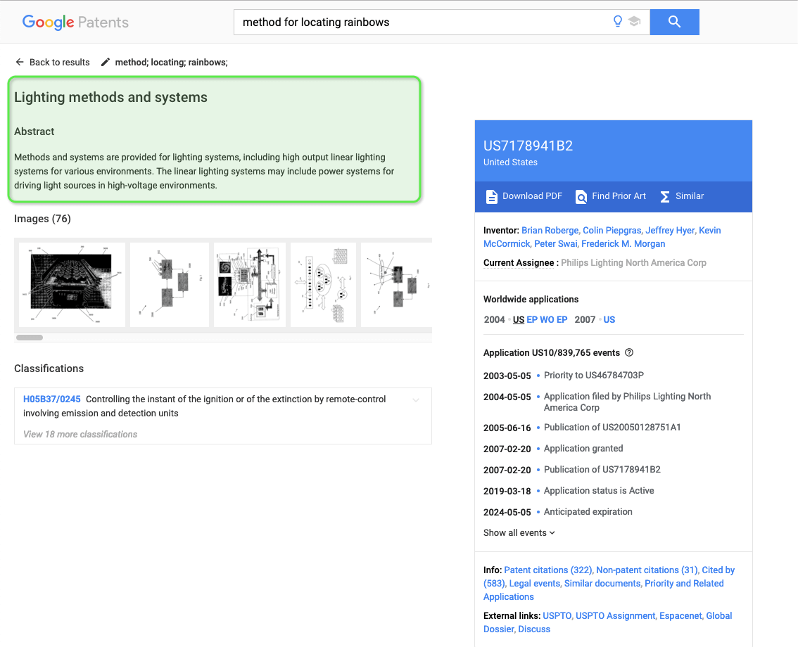 Lighting methods and systems google patent search page