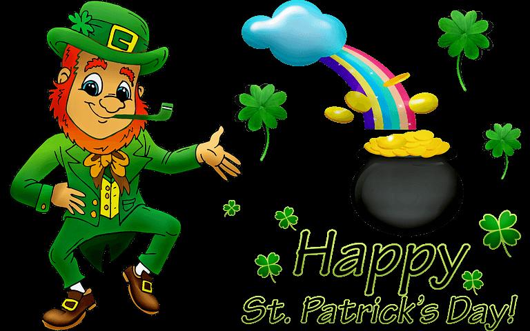 happy st. patrick's day leprechaun rainbow
