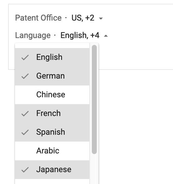 google patent search languages