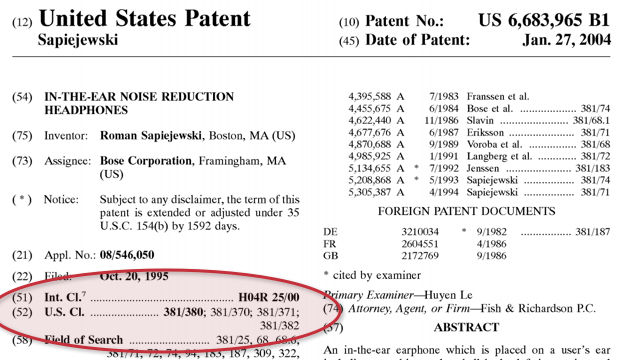 united states patent highlighted classification numbers