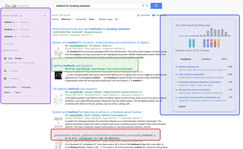 "Google Patent Seach ""method for locating rainbows"""