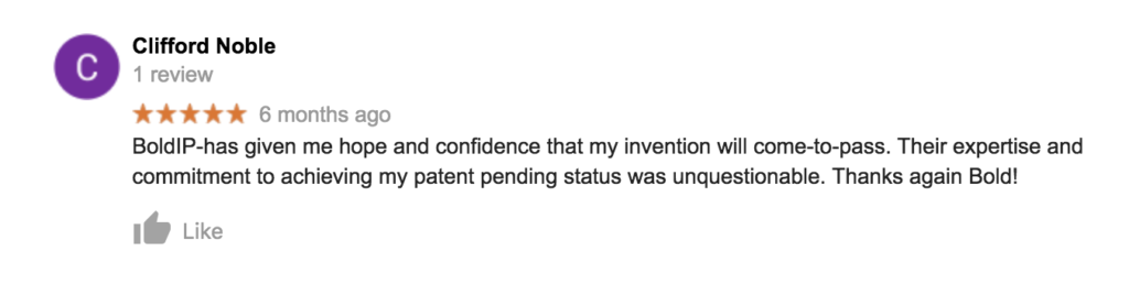 Bold Patent Law Firm Testimonial