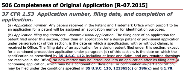 no new matter priority claim example of non provisional patent application