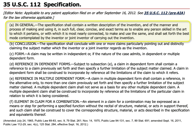 USC 112 Specification - patents
