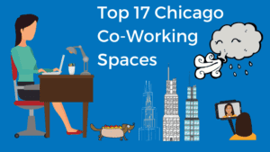 Top 17 Chicago Coworking Spaces Bold Patents Cover Page Cartoon Girl Working at a Desk as the Wind Blows on the Busy City Streets of Chicago