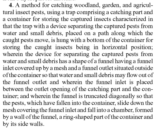 Here is a patent claim set for the method of catching insects