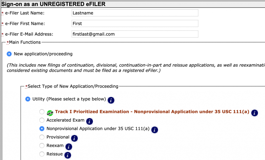 Here is when you sign on as an unregistered eFiler