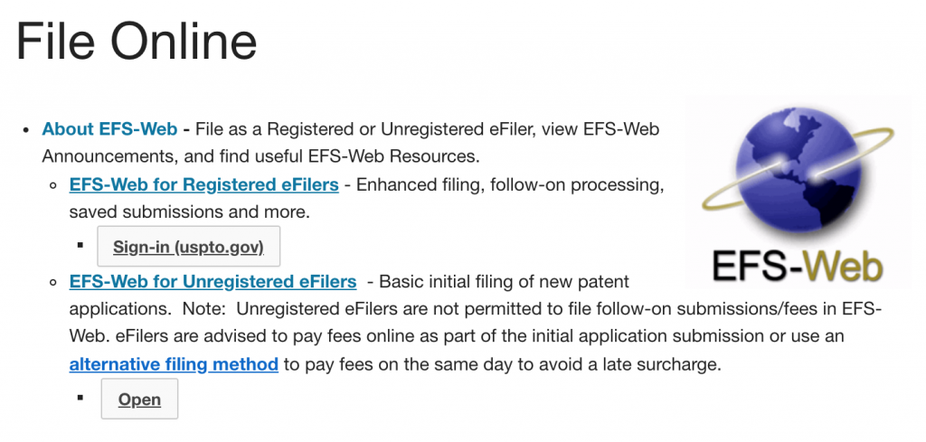 The EFS-Web is how to file online