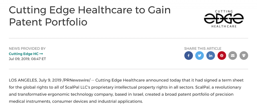 Cutting Edge Healthcare to Gain Patent Portfolio