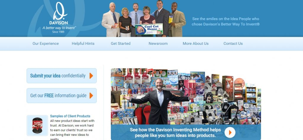 Davison Inventing's home page welcomes you to their services