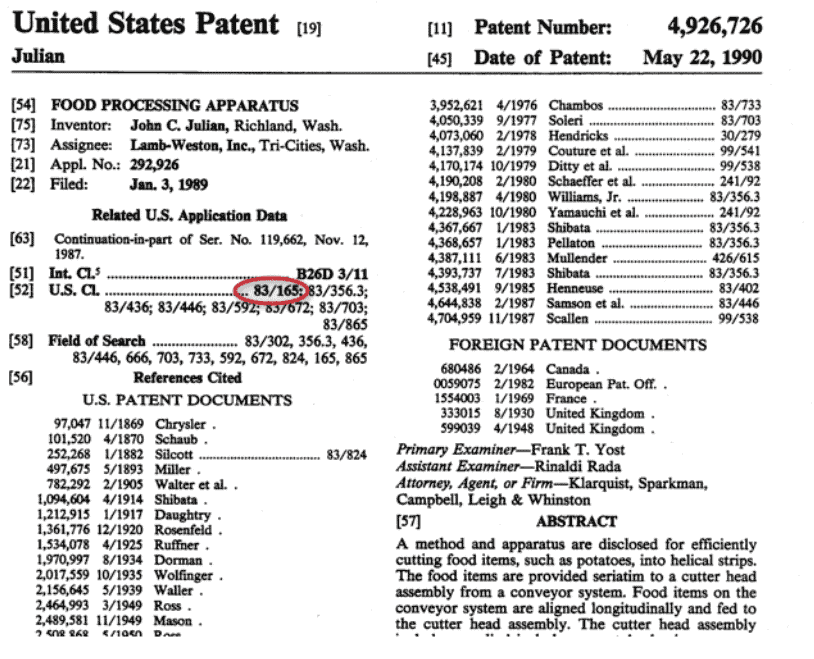 united states patent classification for inventions