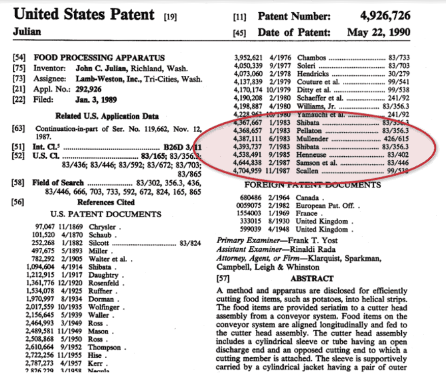 united states patent classification for inventions references and citations