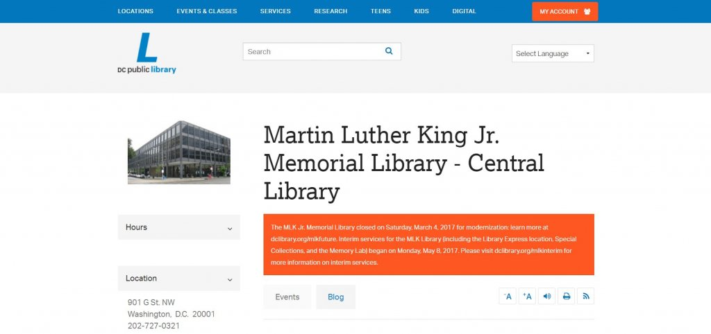 Top 23 Resources for Inventors and Entrepreneurs in Washington DC according to Bold Patents Martin Luther King Jr Library website