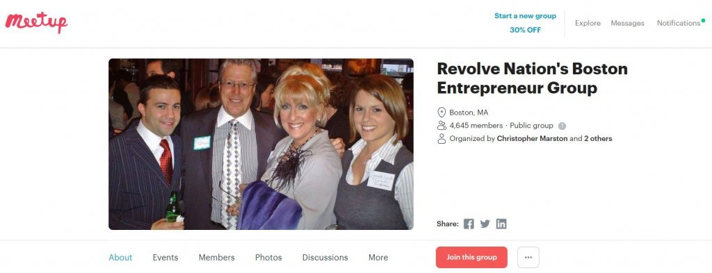 Top 23 Resources for Inventors and Entrepreneurs in Boston Revolve Nation's Boston Entrepreneur Group Meetup website found on Bold Patents website