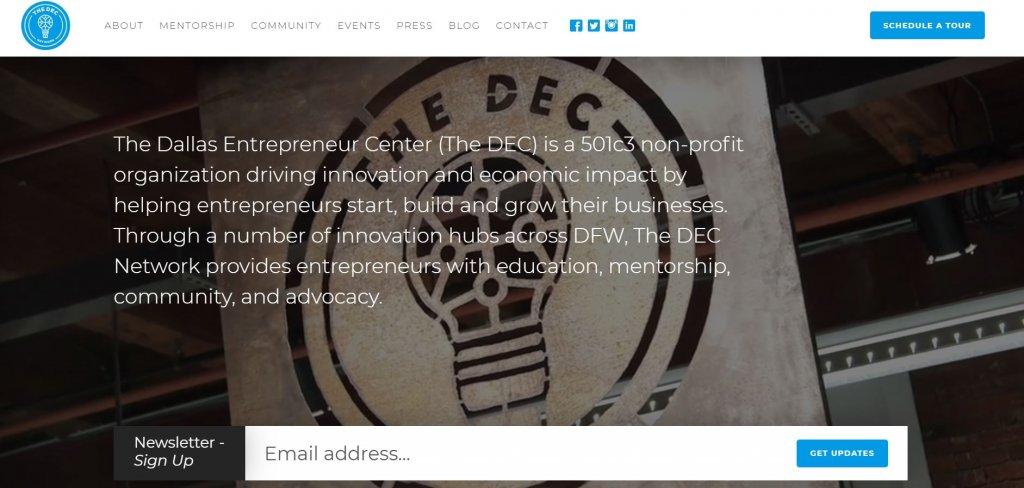 Dallas Entrepreneur Centre (DEC) Coworking from Bold Patents Top 17 Coworking Spaces in Dallas website