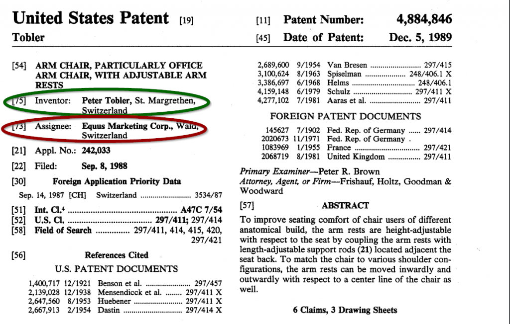US Patent for Arm Chair