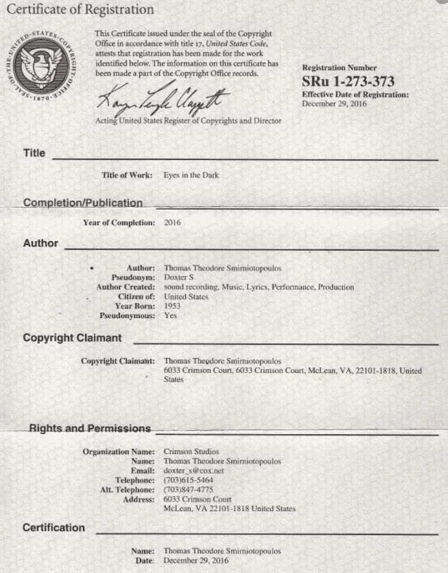 Certificate of Registration example